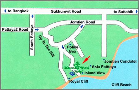 Карта Паттайи - как найти отель Mountain Beach
