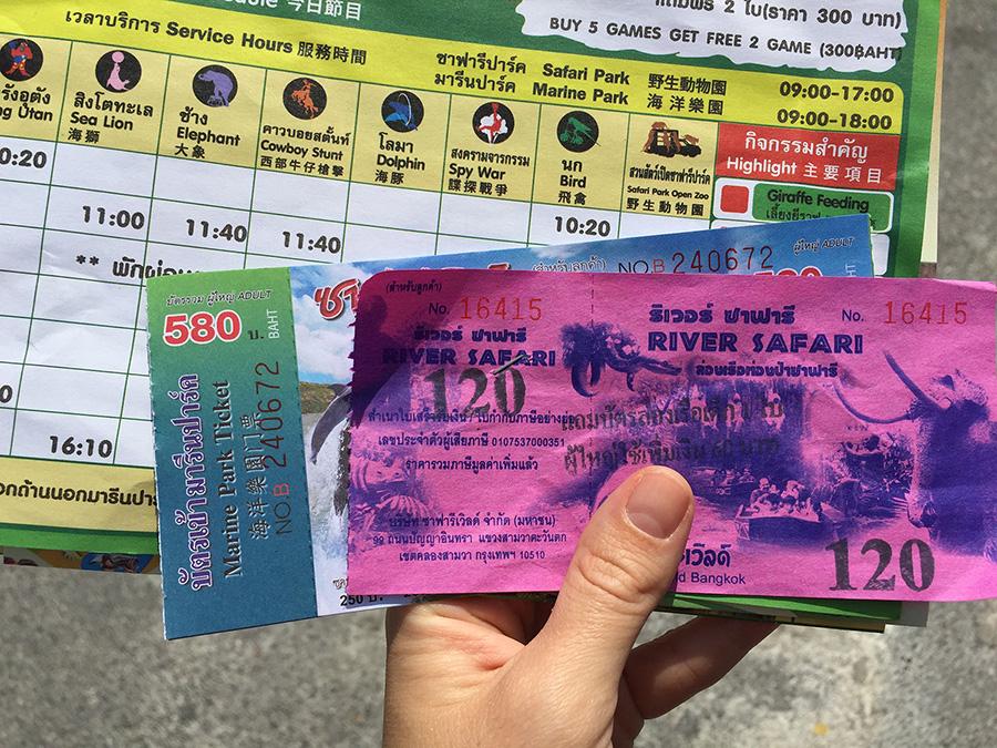 цен на билет за вход в Мир сафари парк в Бангкоке