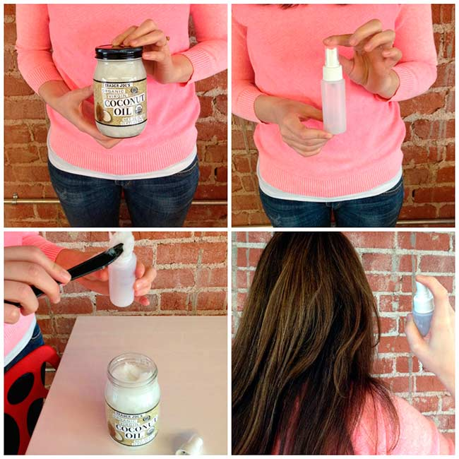 можно просто залить масло в пульверизатор, чтобы брызгать на кончики или по длине волос