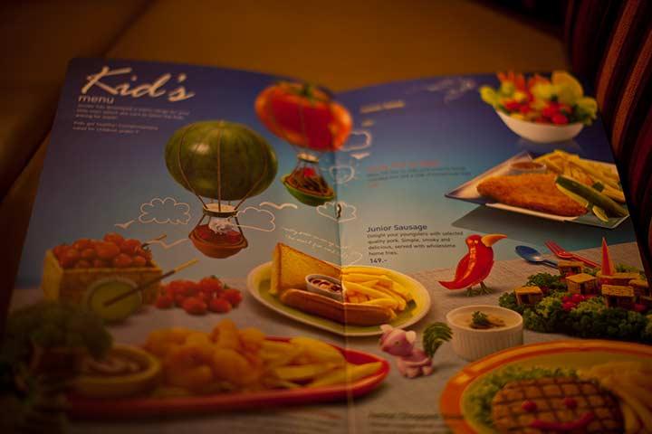 Детское меню в Sizzler