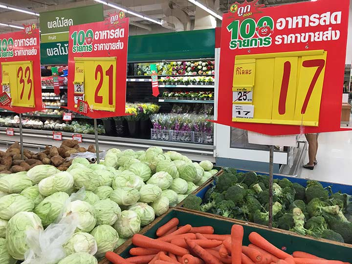цены на овощи в Теско Паттайя