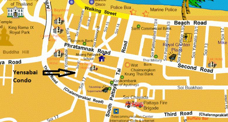 Yensabai расположение на карте Паттайи фото