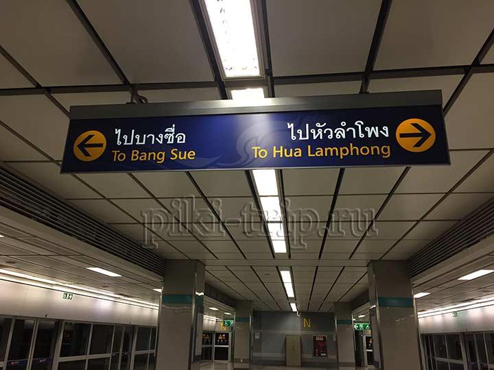 на платформе видно, в какую сторону идет поезд по названиям конечных станций
