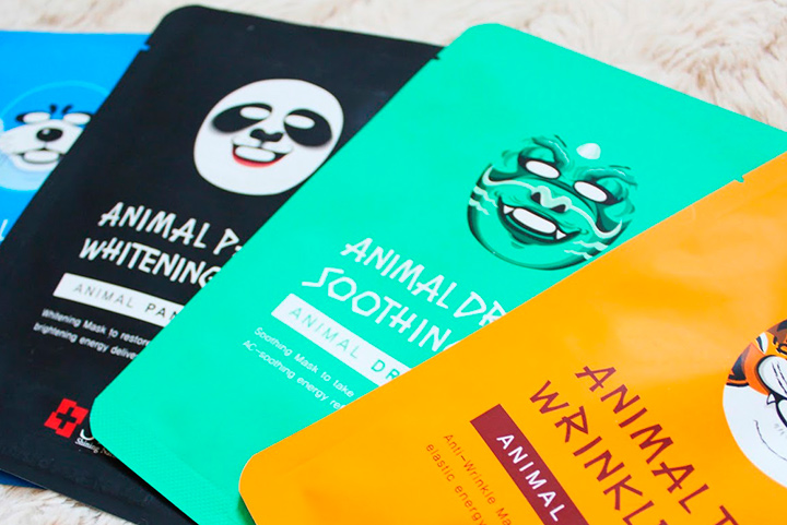 Есть разные классные корейские маски для лица, в виде панды, тигра, дракона и других зверюшек