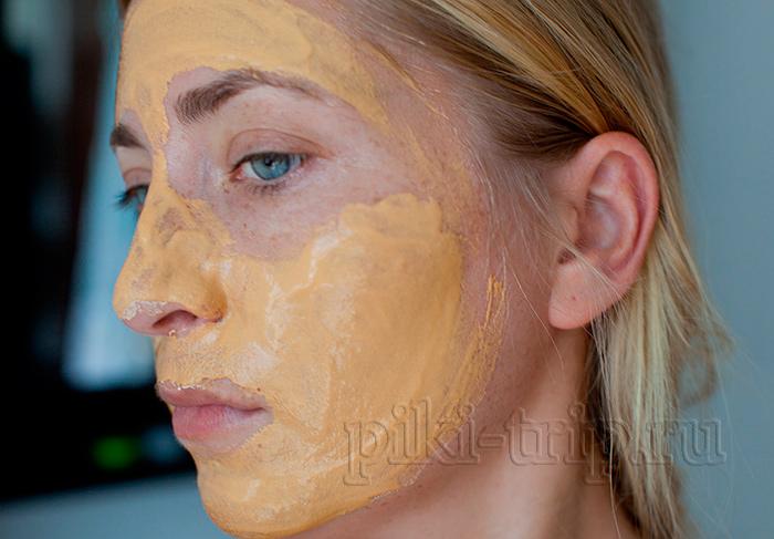 корейская маска-пудра био золото после нанесения