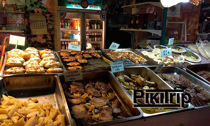 русская еда на рынке Паттайи