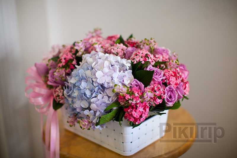 цветочная композиция с гортензиями