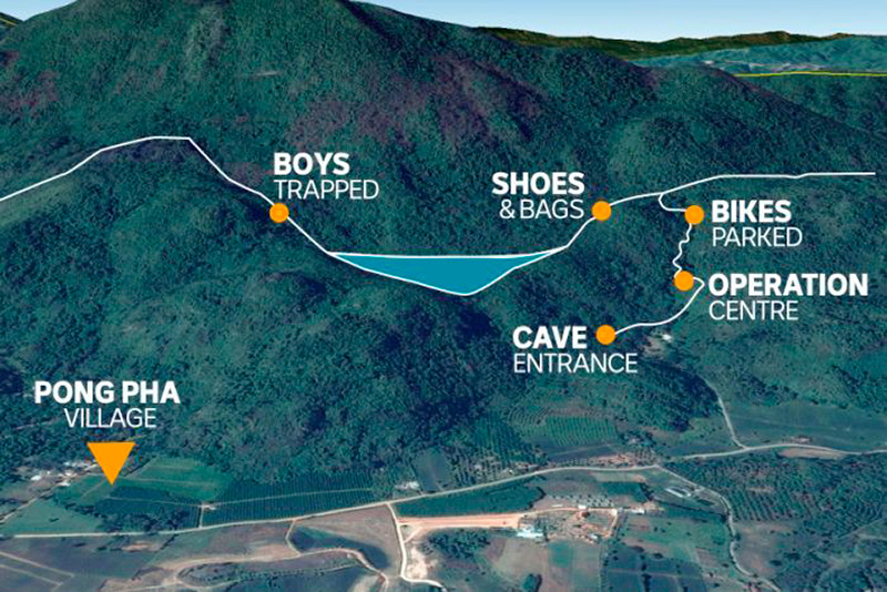 гора в которой пропали дети в Таиланде расположение камер и полостей