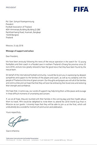 письмо главы ФИФА