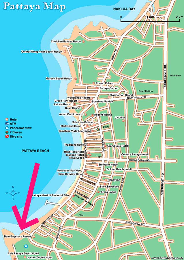 Сиам байшор на карте Паттайи в самом низу