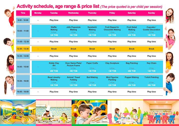 детская комната в Роял Клиффе - расписание занятий