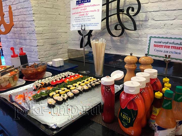 суши роллы и соусы
