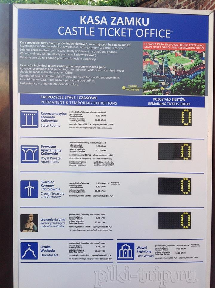 Музеи в Вавеле: входные билеты (фото)