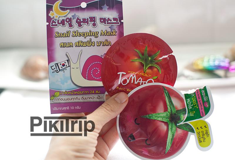 sleeping mask - улитка и помидорки