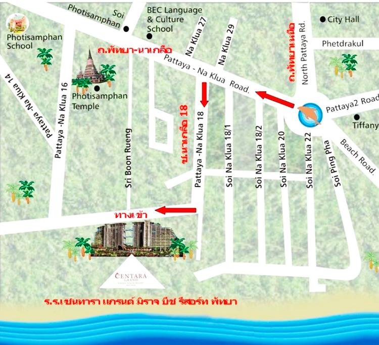 Карта Паттайи центара Гранд Мираж