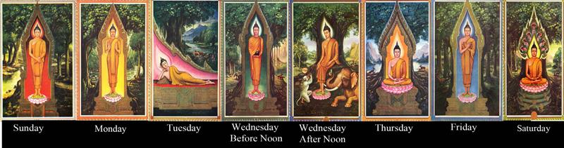 цвета дней недели в Таиланде
